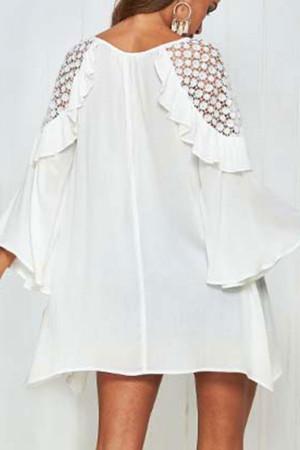 Hollow Lace Flounce Dress