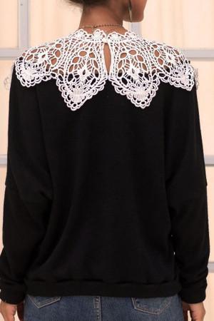 Hollow Patchwork Knit Sweatshirt