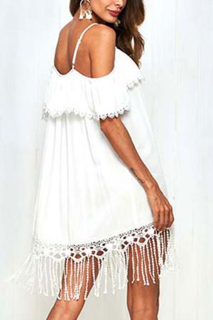 Hollow Tassel Off-the-shoulder Dress