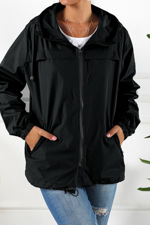 Hooded Drawstring Waterproof Jacket
