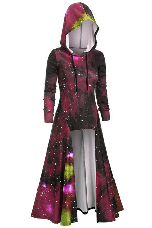 Hooded Starry Sky Printed Cape