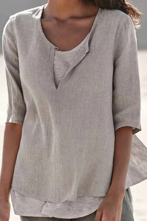 Irregular Simple Solid Blouse