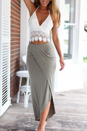 Lace Halter Top And Long Skirt Two Pieces