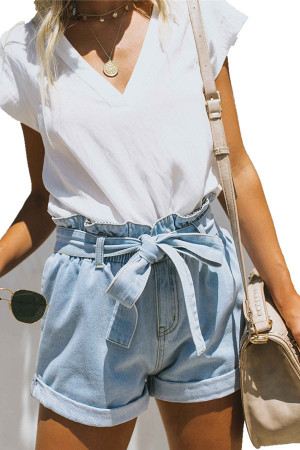 Lace-up Casual Denim Shorts