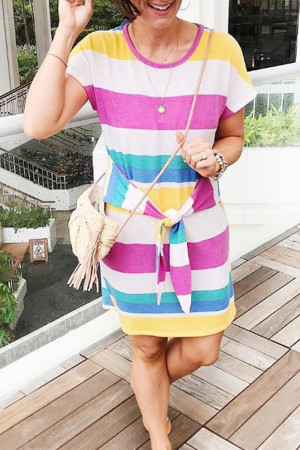 Lace-Up Colorful Striped Dress