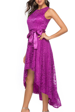 Lace High Low Wrap Dress