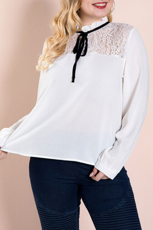 Lace Panel Bowknot Blouse