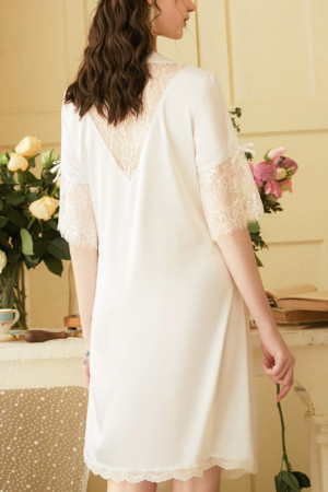 Lace Patchwork Lace-up Robe