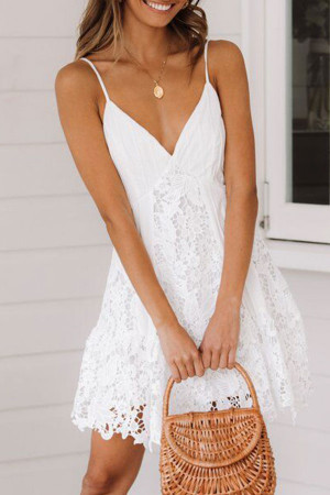 Lace Spaghetti Straps Dress