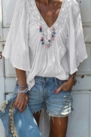 Lace V-neck Ruffled Flared Blouse