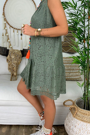 Lace V-neck Ruffled Tunic Dress