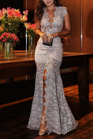 Lace V-neck Slit Prom Dress