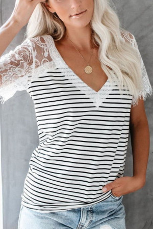 Lace V-neck Striped T-shirt