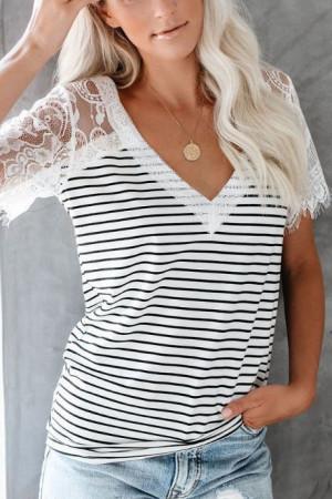 Lace V-neck Striped T-shirt
