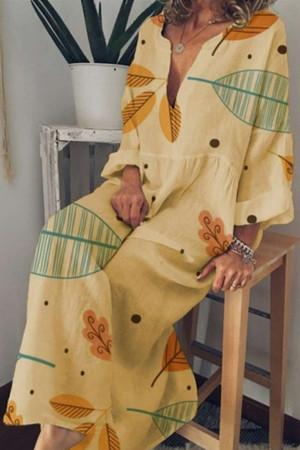 Leafy V-neck Ruffled Dress