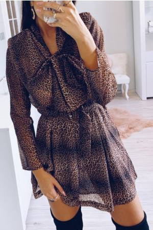 Leopard Print Tie Neck Mini Dress