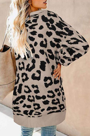 Leopard Buttons Sweater Cardigan