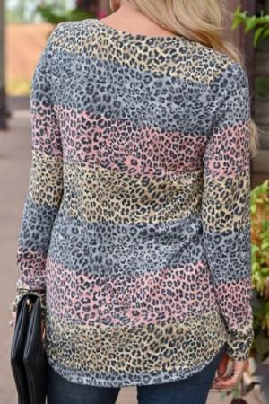 Leopard Print Color Block T-shirt