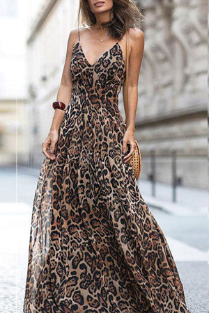 Leopard Print Long Cami Dress