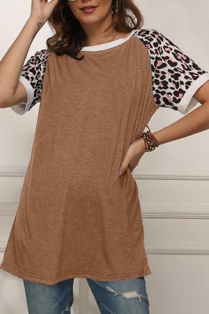Leopard Print Panel T-shirt