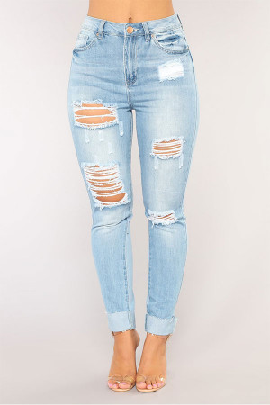 Light Sky Blue Ripped Jeans