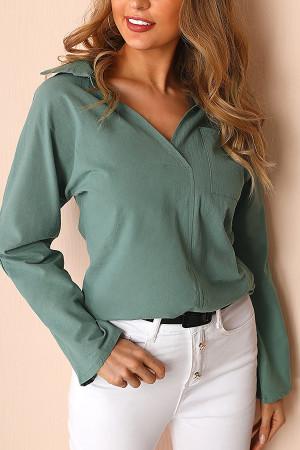 Long Sleeve V-neck Pocket Shirt
