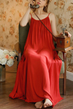 Red Sleeveless Night Dress