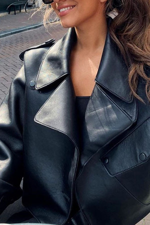 Loose Lapel Pu Jacket