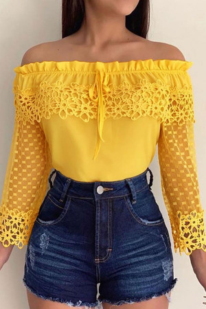 Mesh Off-the-shoulder Chiffon Blouse
