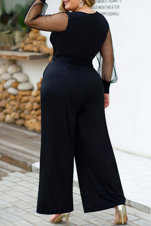 Mesh Panel Plus Size Jumpsuit