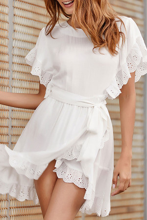Minimal Lace-up Ruffled Dress