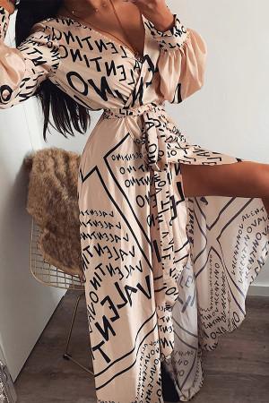 Monogrammed V-neck Tunic Dress