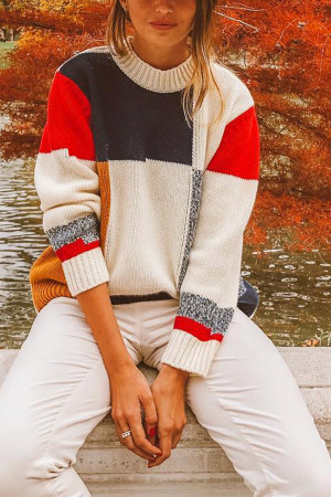 Multi-color Pullover Sweatshirt