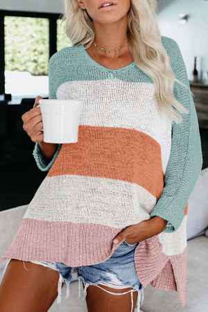 Multicolored Knitted Loose Sweater