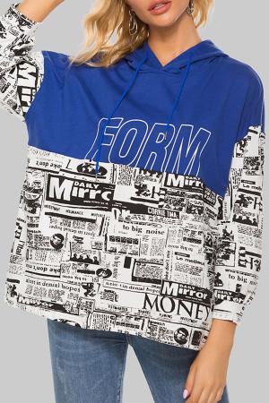Newspaper Print Pullover Hoodie