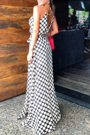 Geometric Print Split Dress