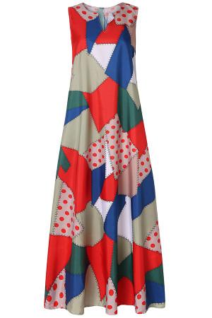 Vintage Print A-line Swing Dress