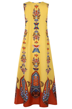 Arabian Print V-neck Tunic Dress