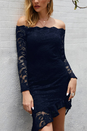 Off-the-shoulder Eyelet Lace Dress