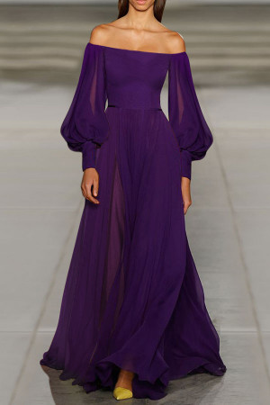 Off-the-shoulder Chiffon Long Dress