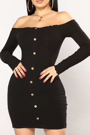 Off Shoulder Buttoned Bodycon Dress