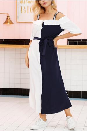 Off Shoulder Colorblock Belted Dress