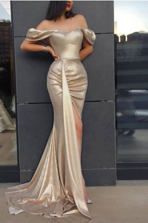 Off Shoulder Slit Prom Maxi Dress