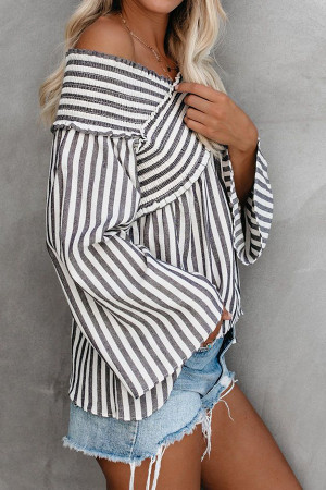 Off Shoulder Striped Blouse