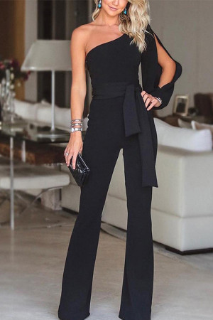 One Shoulder Empire Jumpsuit
