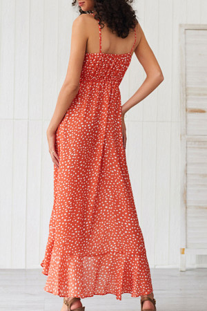 Orange Polka Dot Ruffled Dress