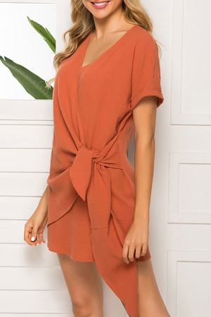 Orange Tie Front Wrap Dress