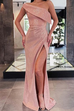 Pink Slit Sequin Dress
