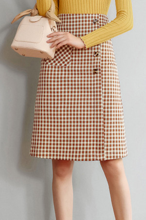 Plaid Pockets Slit Back Skirt