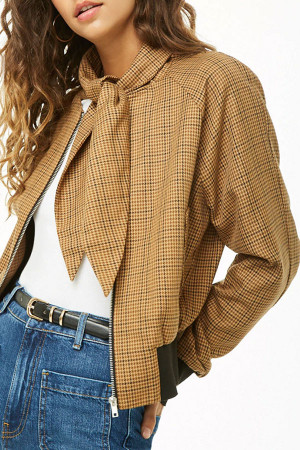 Plaid Front Tie Coat